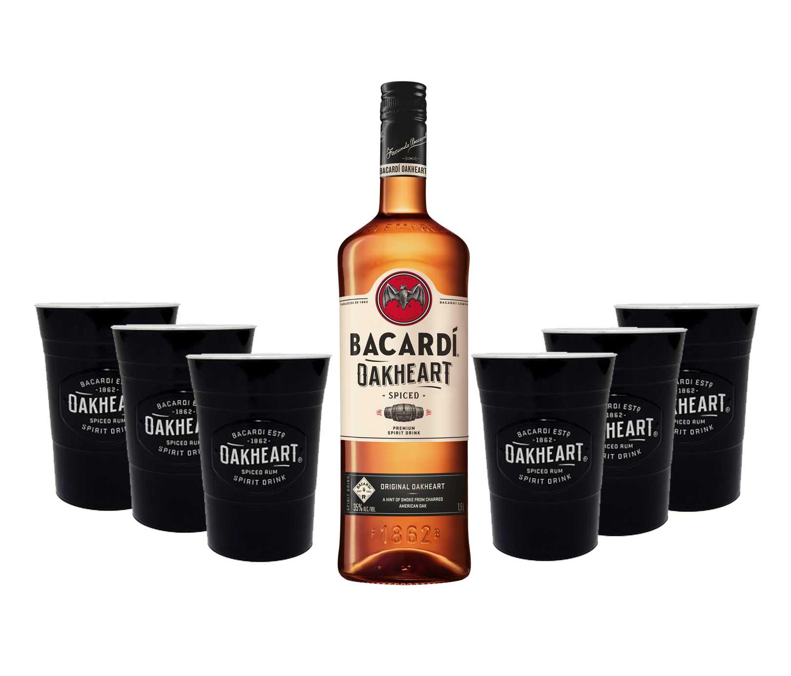 Bacardi Oakheart Rum 1L (35% Vol) + 6x Oakheart Becher schwarz