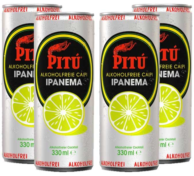 Pitu Ipanema 4er Set alkoholfreier fertig Cocktail 4x 0,33L ready to drink ohne Alkohol inklusive Pfand EINWEG