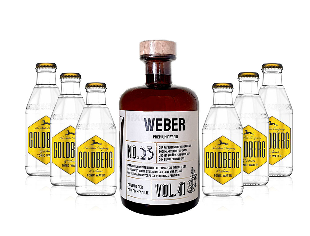 Mein Gin - Weber Premium Dry Gin 0,5l (41% Vol) - Weber s Gin No.25 + 6x Goldberg Tonic Water 200ml inkl. Pfand MEHRWEG -[Enthält Sulfite]