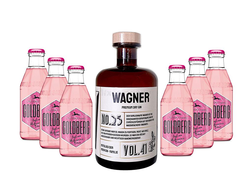 Mein Gin - Wagner Premium Dry Gin 0,5l (41% Vol) - Wagner s Gin No.25 + 6x Goldberg Hibiskus Tonic Water 200ml inkl. Pfand MEHRWEG -[Enthält Sulfite]