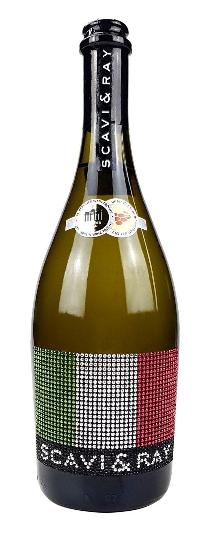 Scavi & Ray Prosecco Frizzante 0,75l (10,5% Vol) mit Bling Bling Italien Flagge -[Enthält Sulfite]