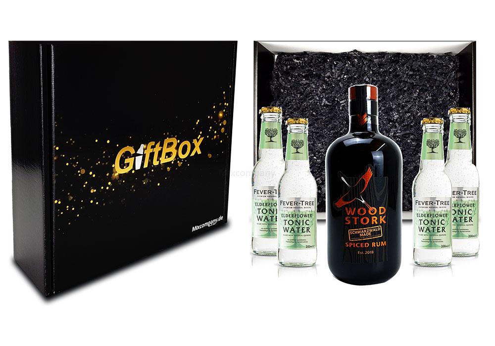 Mixcompany Geschenkset - Wood Stork Rum 0,5L (40%Vol) + 4 x Fever-Tree Elderflower Tonic Water 0,2l MEHRWEG inkl. Pfand- Wood Stork Rum Geschenk Set [Enthält Sulfite]