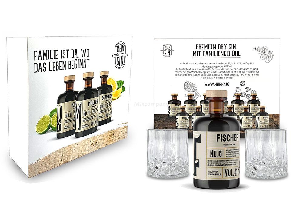 Mixcompany Geschenkset - Mein Gin Set - Fischer No 6 Gin 0,5L (41% Vol) + 2x Tumbler Glas in Kristall optik- [Enthält Sulfite]