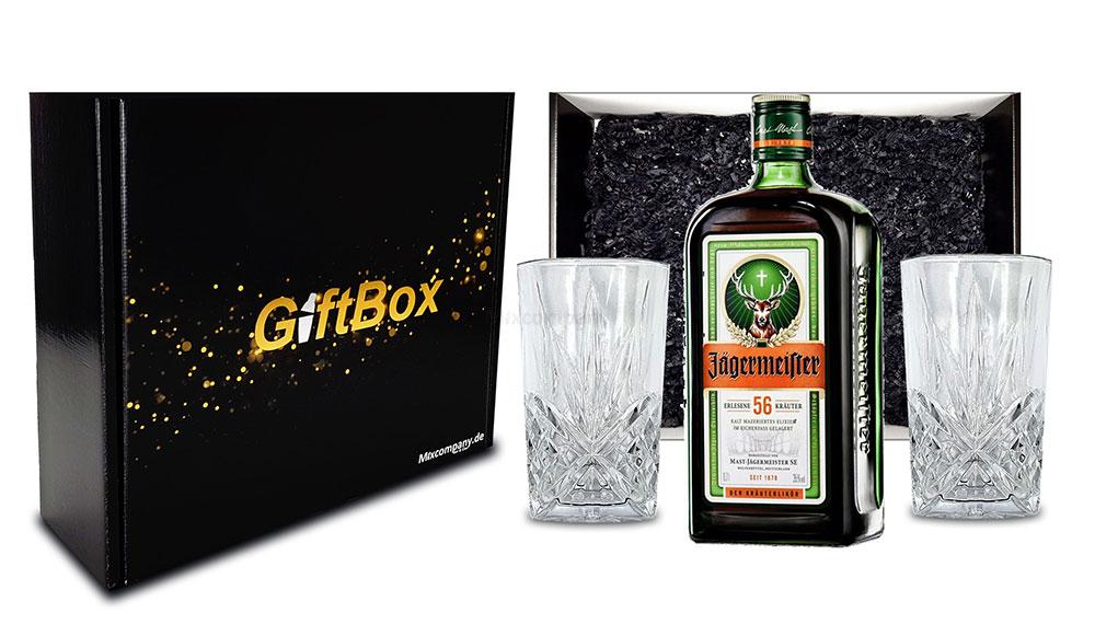 Geschenkset - Jägermeister Kräuterlikör 0,7l 700ml (35% Vol) + 2x Longdrink Gläser in Kristall Optik- [Enthält Sulfite]