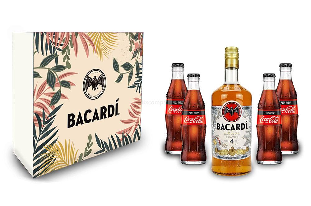 Bacardi Geschenkset - Bacardi Anejo Cuatro 4 Jahre Rum 0,7l 700ml (40% Vol) + 4x Cola ZERO 0,2L Inkl. Pfand MEHRWEG- [Enthält Sulfite]