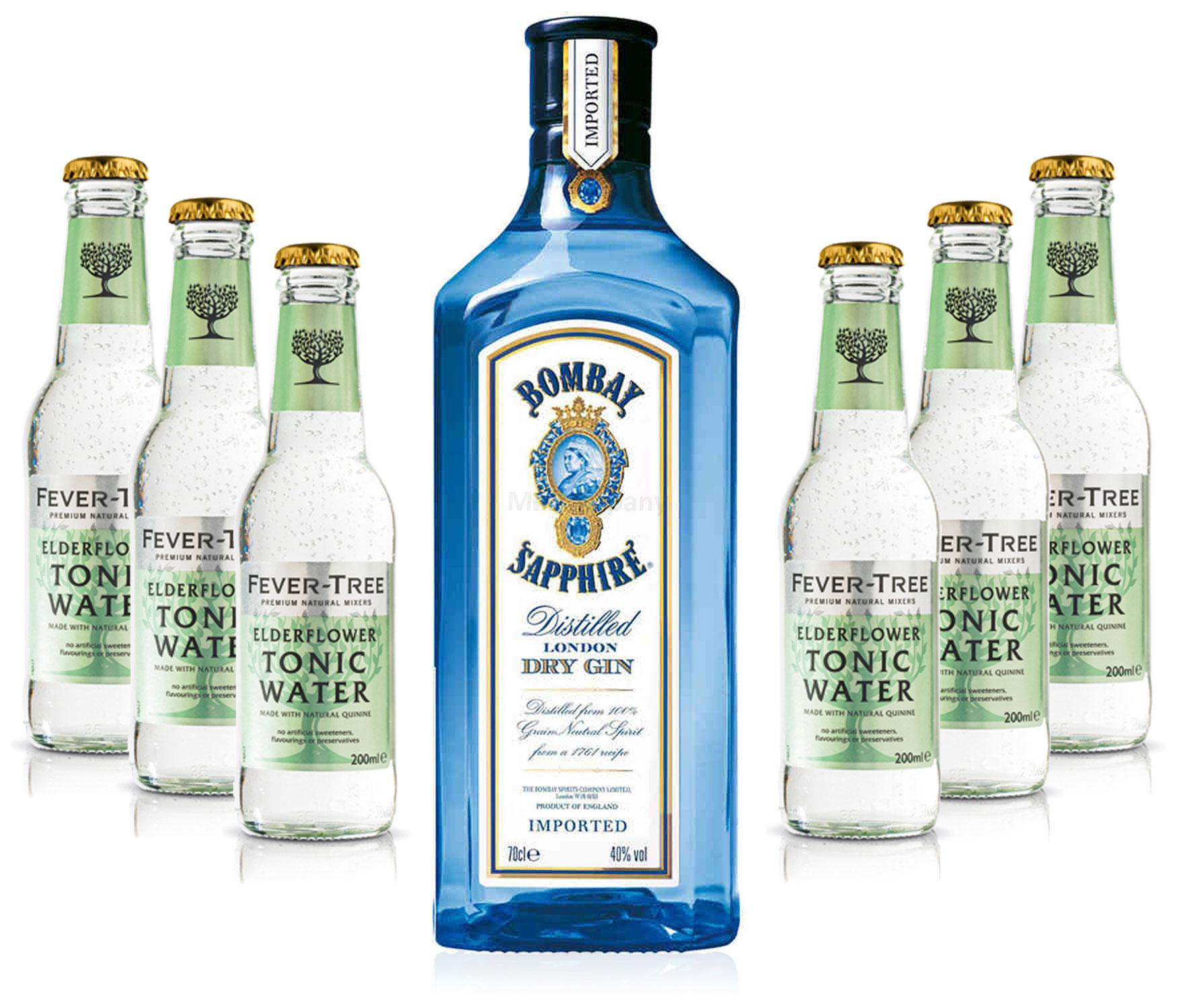 Gin Tonic Set - Bombay Sapphire 0,7l 700ml (40% Vol) + 6x Fever Tree Elderflower Tonic Water 200ml - Inkl. Pfand MEHRWEG