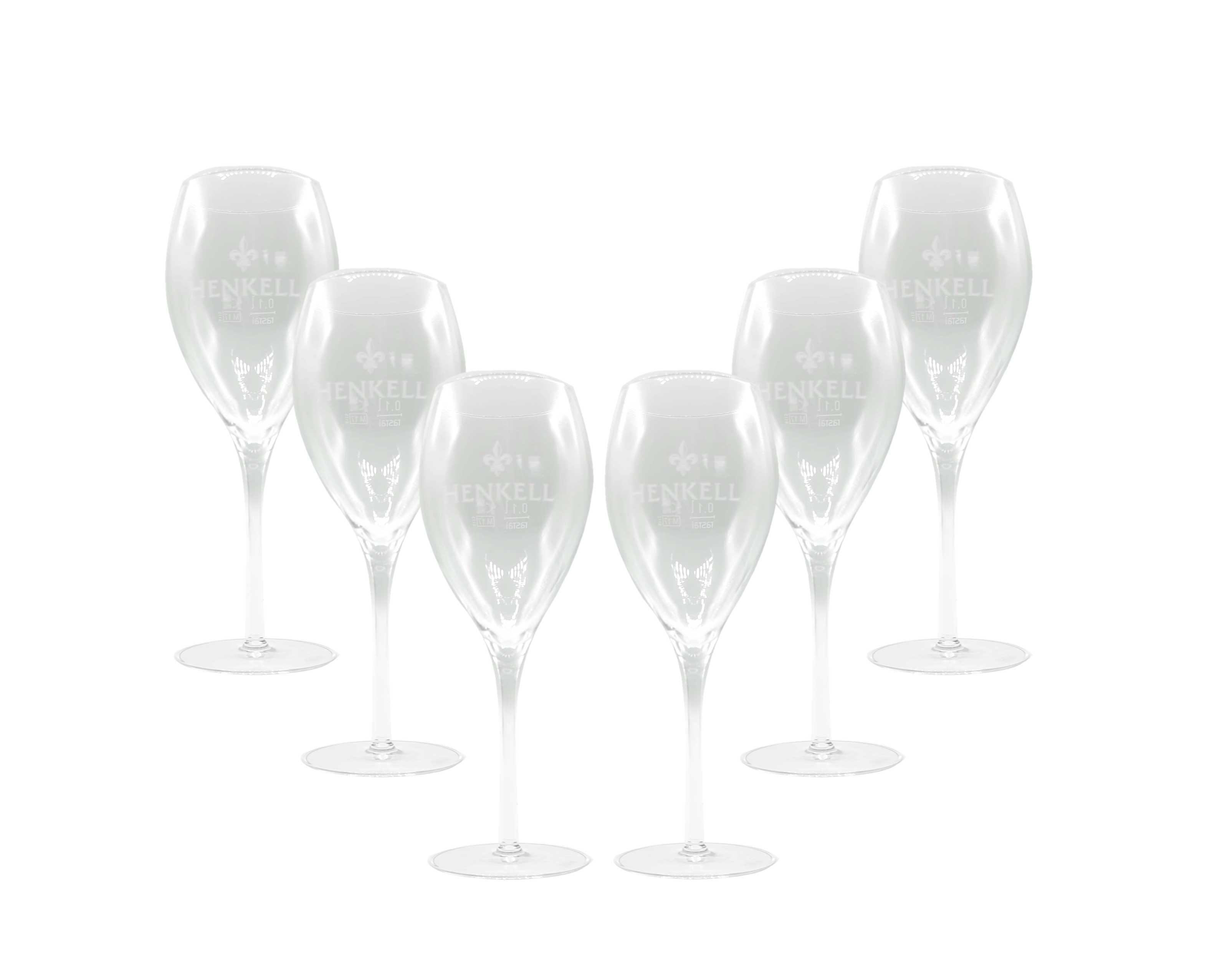 Henkell Champagner bauchige Flöten Gläser Set - 6x 10cl 0,1l geeicht