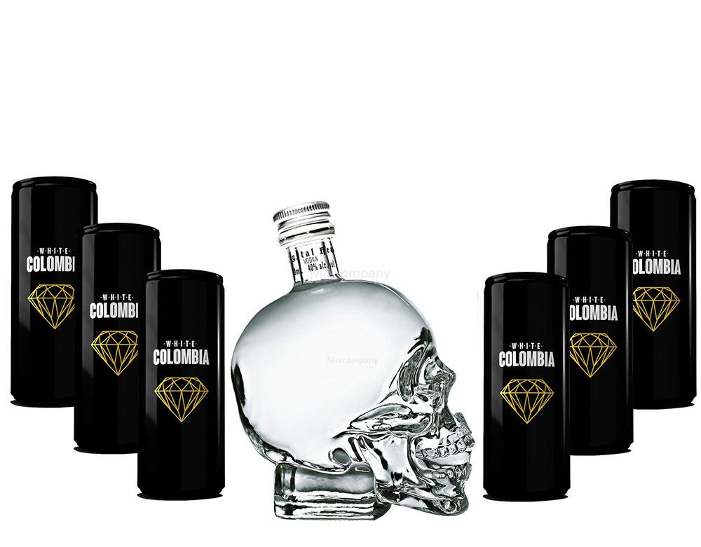 Crystal Head Vodka 700ml (40% Vol) + White Colombia Classic Set - Erfrischungsgetränk - 6x 250ml inkl. Pfand EINWEG- [Enthält Sulfite]