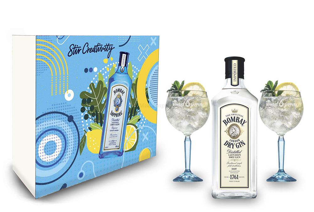 Bombay Geschenkset - Bombay London Dry Gin 0,7L (37,5% Vol) + 2er Set Ballon Glas / Gläser- [Enthält Sulfite]