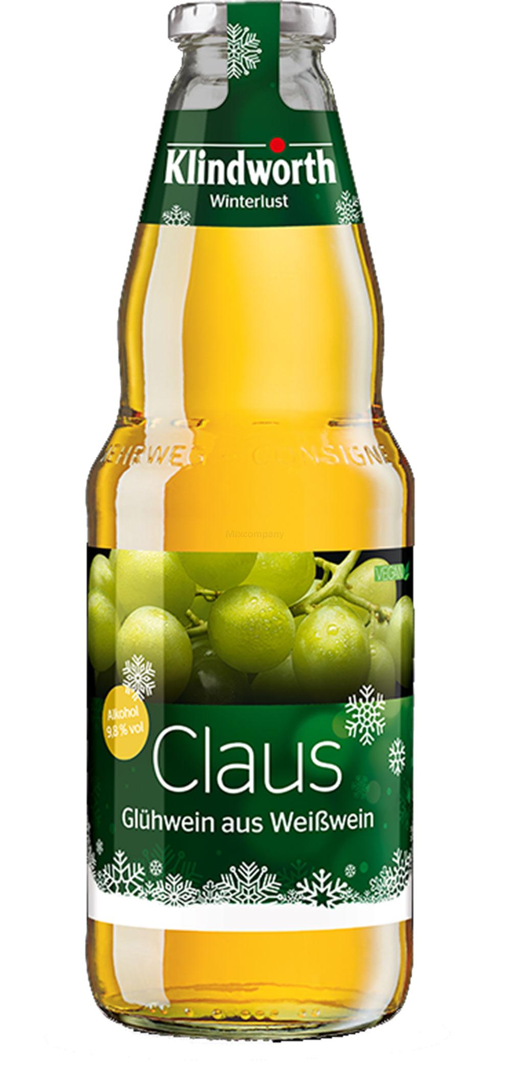 Klindworth Claus Glühwein aus Weißwein - 1x Winterlust Glühwein 1L (9,8% Vol) inkl. Pfand MEHRWEG- [Enthält Sulfite]