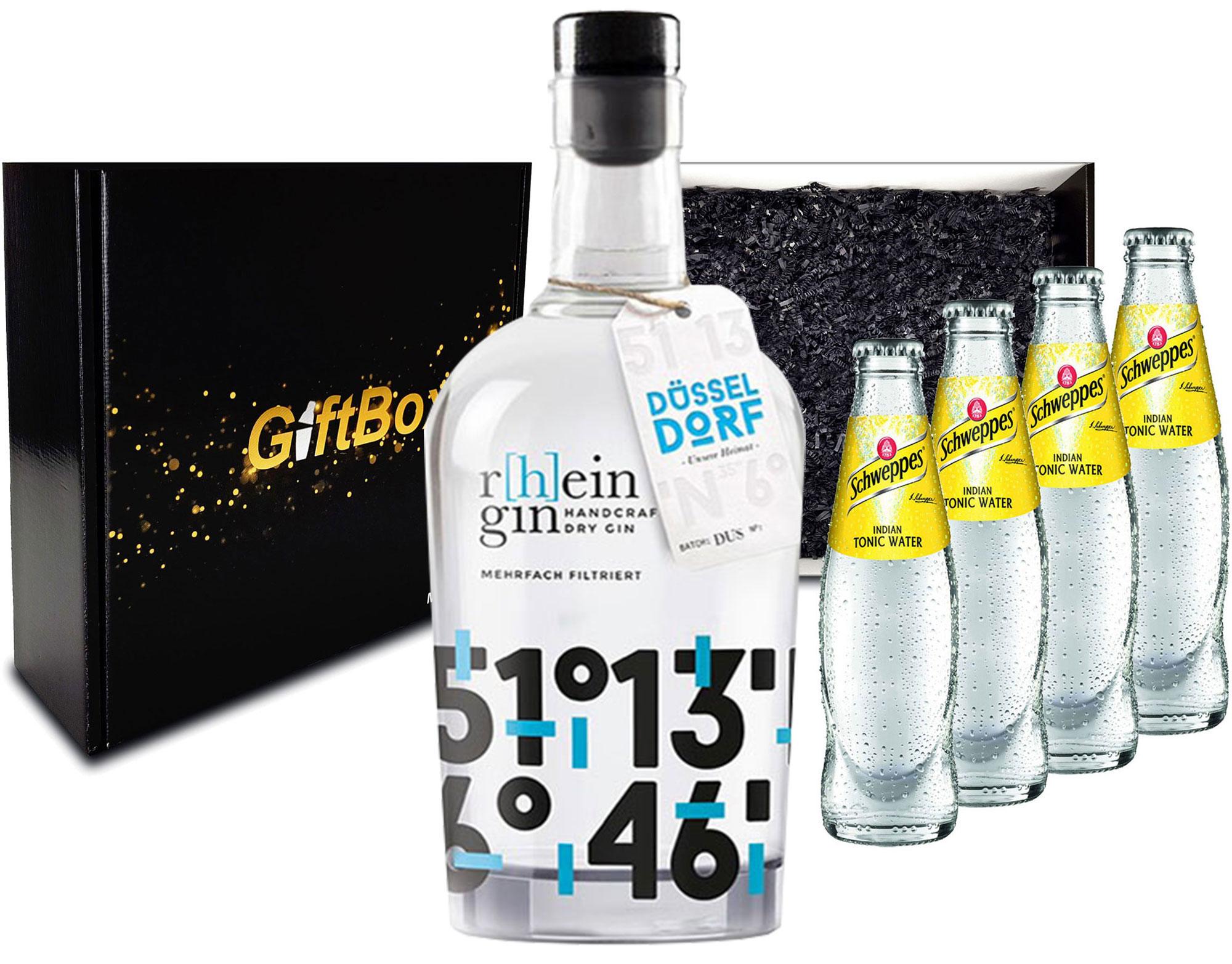 Gin Tonic Giftbox Geschenkset - r[h]eingin Handcrafted Dry Gin 0,5l 500ml (46% Vol) + 4x Schweppes Tonic Water 200ml inkl. Pfand MEHRWEG- [Enthält Sulfite]
