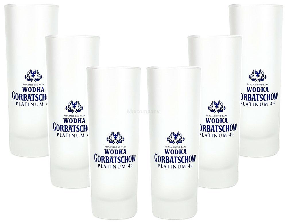 Wodka Gorbatschow Platinum 44 Longdrinkglas - 6er Longdrink Glas / Gläser Set - 6x Longdrinkgläser 1cl geeicht / Eichung / Eichstrich