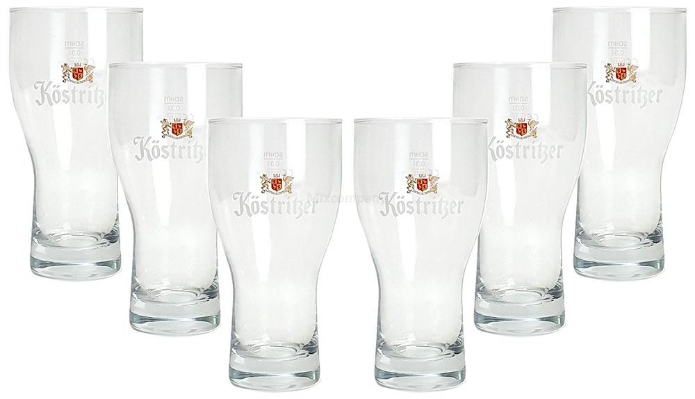 Köstritzer Bierglas - Glas / Gläser Set - 6x Biergläser mit 0,3L Eichung / 300ml Eichstrich