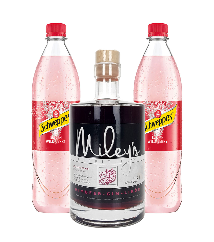 Mileys Himbeer Wild Berry Set - Mileys Himbeer-Gin-Likör 0,5l (20% Vol) + 2x Schweppes Russian Wild Berry 1l- [Enthält Sulfite] - Inkl. Pfand MEHRWEG