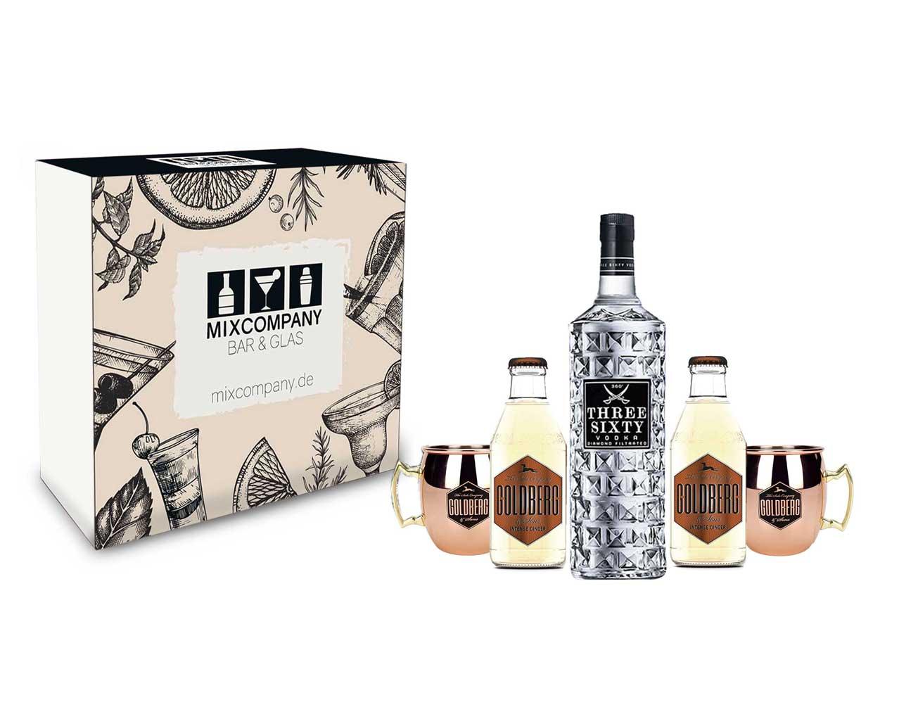 Moscow Mule Set / Geschenkset - Three Sixty Vodka 0,7l 700ml (37,5% Vol) + 2x Goldberg Kupferbecher + 2x Goldberg Intense Ginger 200ml - Inkl. Pfand MEHRWEG