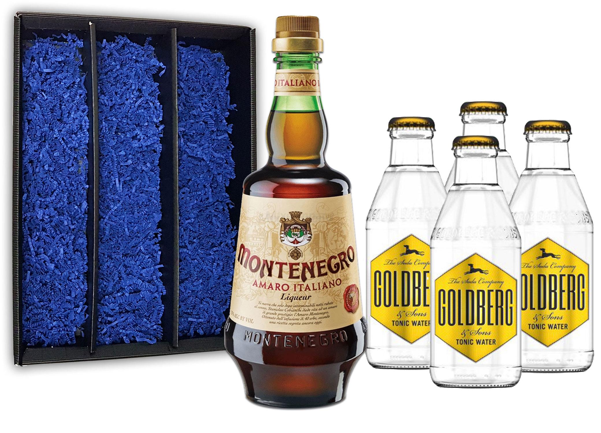 Montenegro & Tonic Geschenkset - Montenegro Amaro Italiano Likör 0,7L (23% Vol) + 4x Goldberg Tonic Water 200ml inkl. Pfand MEHRWEG