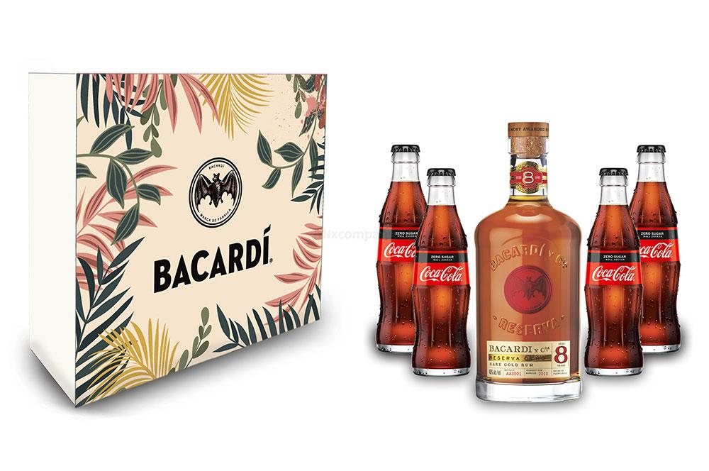 Bacardi Geschenkset - Bacardi Ron 8 Anos Gran Reserva 8 Jahre Rum 0,7l (40% Vol) + 4x Cola ZERO 0,2L Inkl. Pfand MEHRWEG- [Enthält Sulfite]