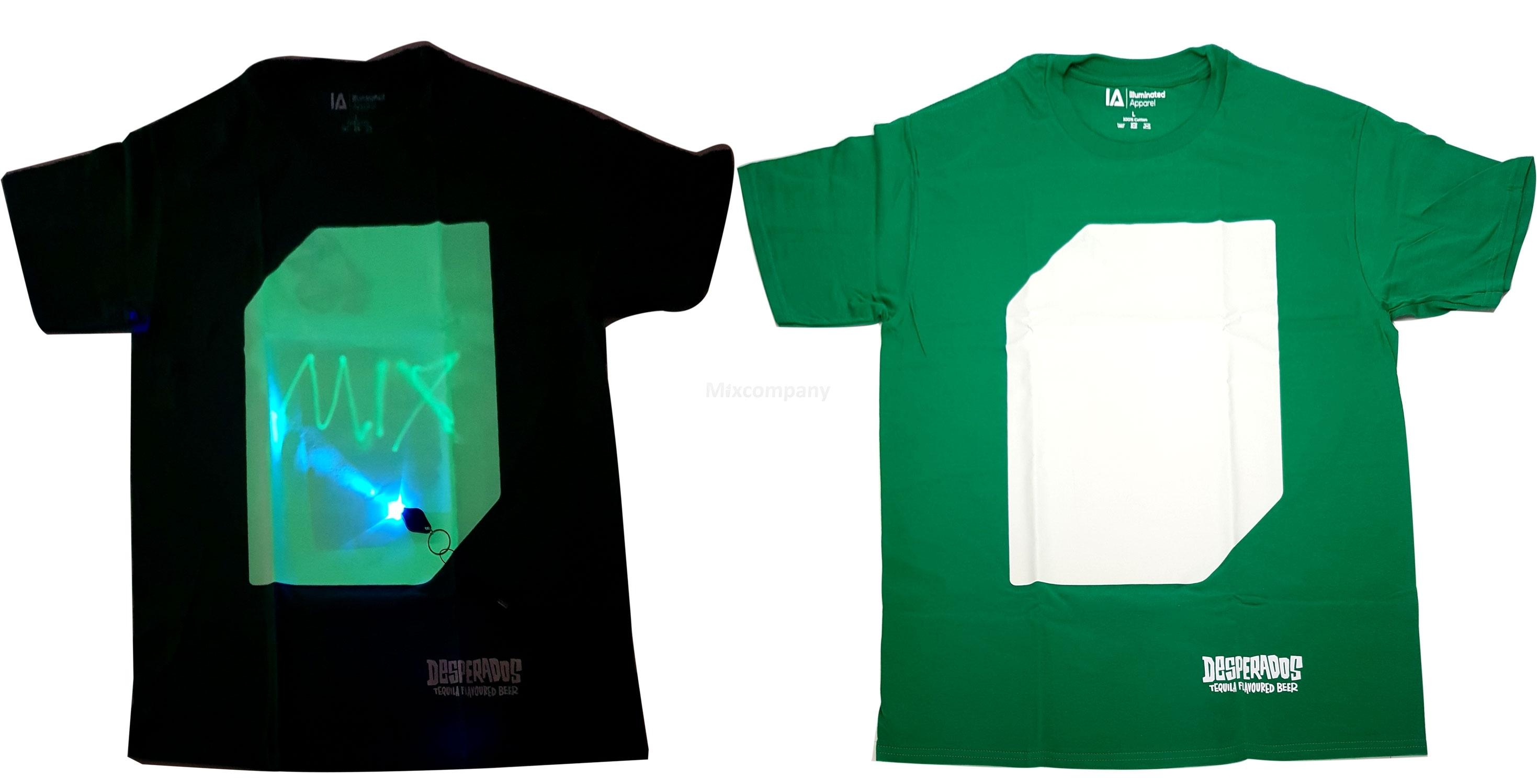 Desperados T-Shirt beleuchtet mit UV Licht - grün - 100 Prozent Baumwolle - Größe L