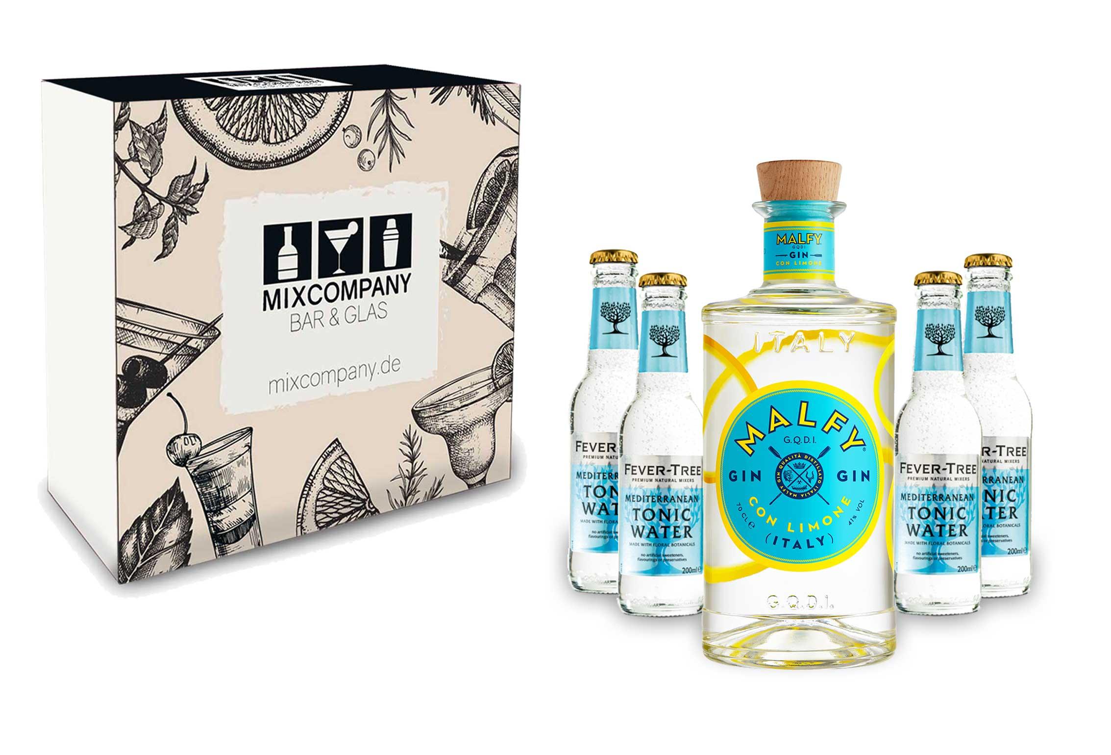 Malfy Gin Tonic Giftbox Set - Malfy Gin con Limone (Zitrone) 0,7l - 700ml (41% VOL) + 4x Fever-Tree Mediterranean Tonic Water 200ml inkl. Pfand MEHRWEG- [Enthält Sulfite]