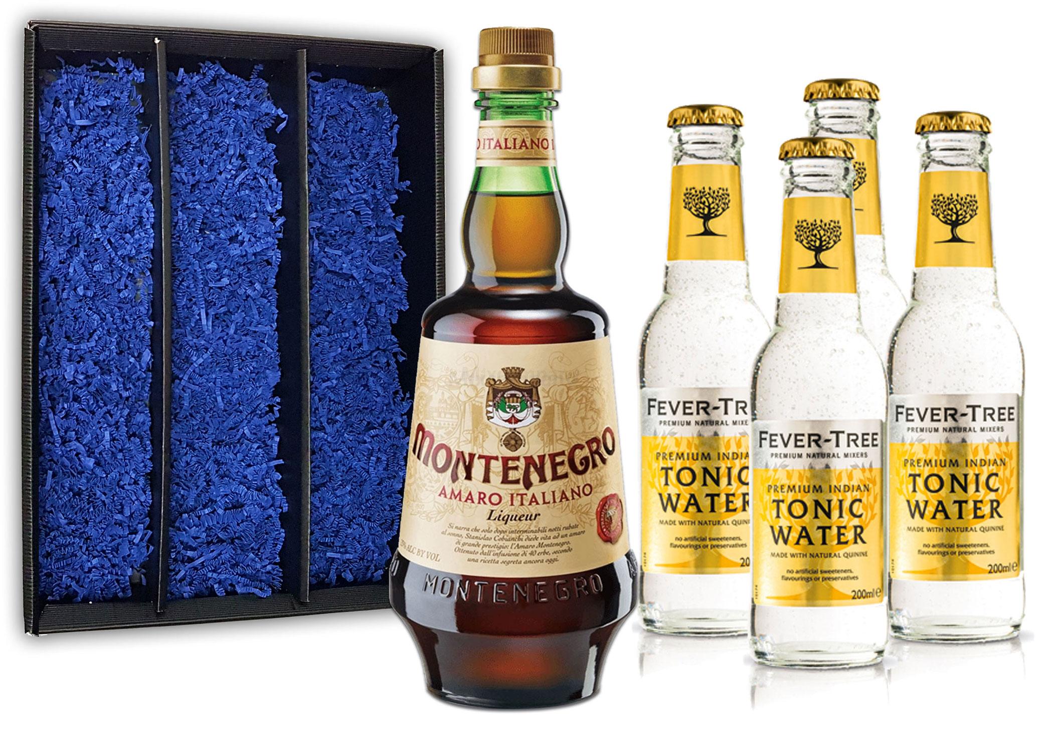 Montenegro & Tonic Geschenkset - Montenegro Amaro Italiano Likör 0,7L (23% Vol) + 4x Fever-Tree Tonic Water 200ml inkl. Pfand MEHRWEG