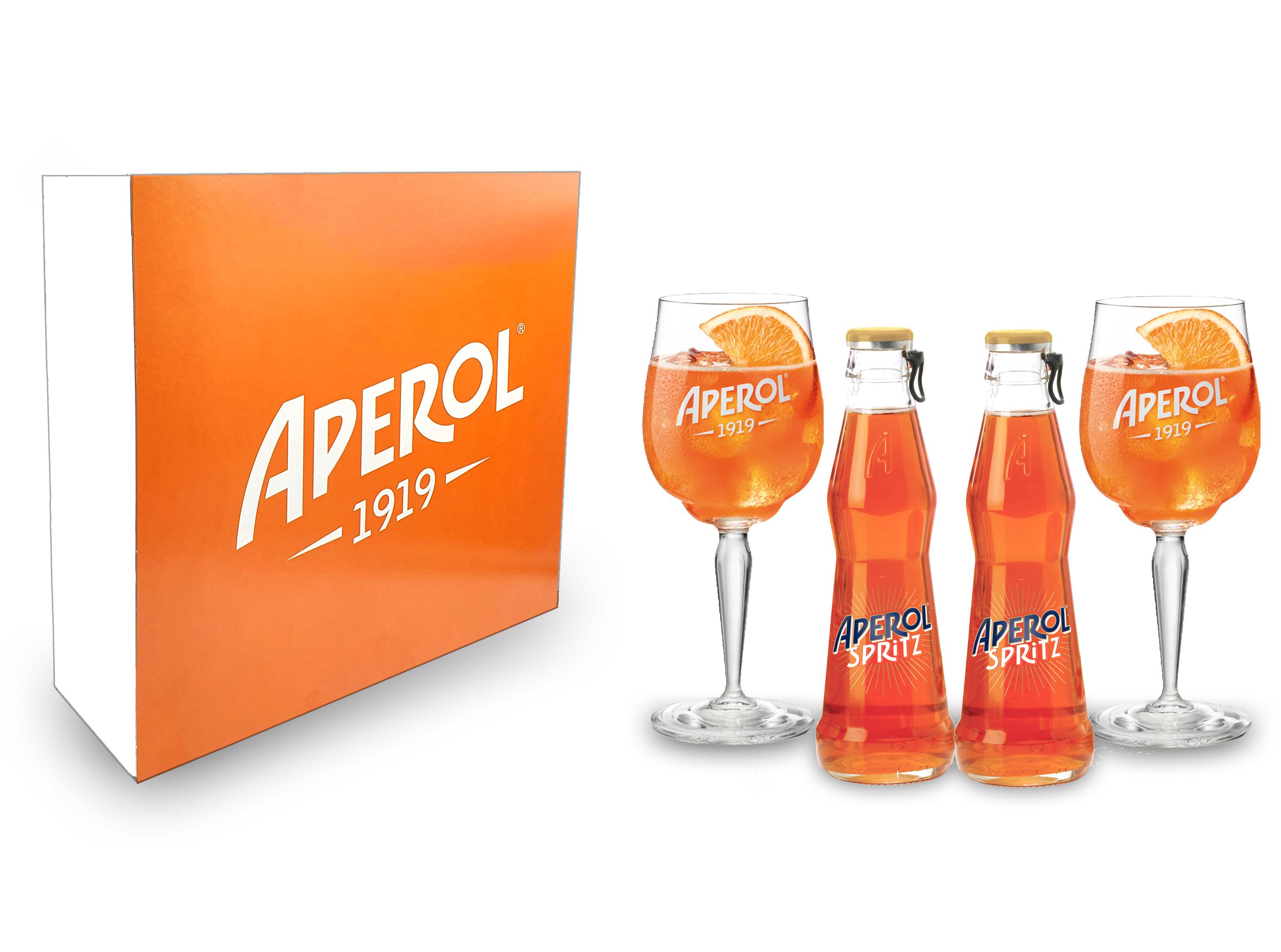 Aperol Schuber Geschenkset - Aperol Spritz 2x 17,5cl (10,5% Vol) + 2x Aperol Gläser / Glas ready to drink Aperitivo / Aperitif- [Enthält Sulfite]