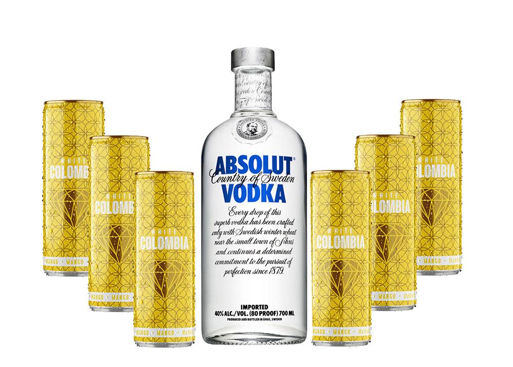 Absolut Vodka Wodka Set - Absolut Vodka 0,7l 700ml (40% Vol) + White Colombia Mango Set - Erfrischungsgetränk mit Mango-Maracuja-Geschmack - 6x 250ml inkl. Pfand EINWEG- [Enthält Sulfite]