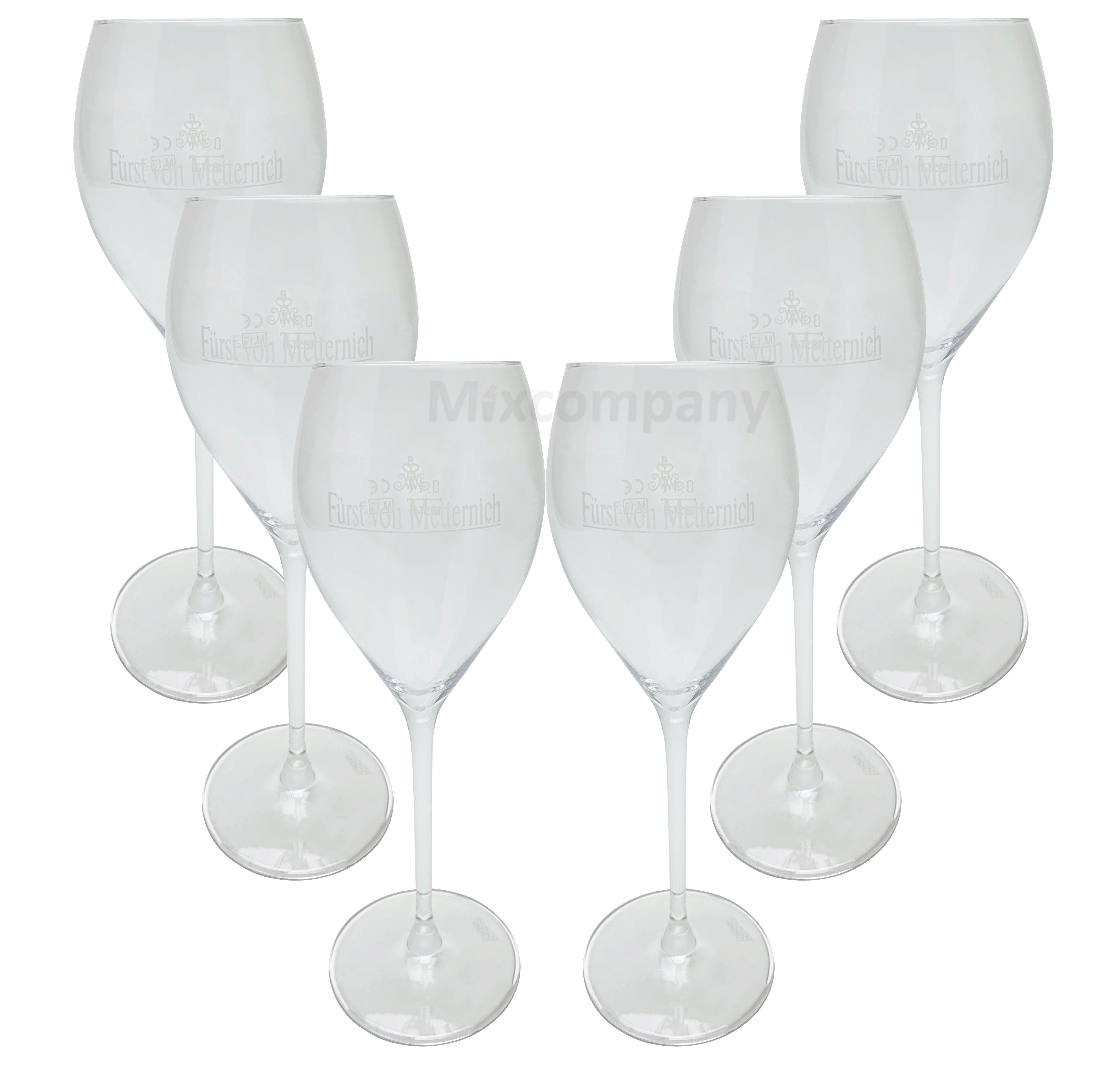 Fürst von Metternich Wein - Sektglas Flöte Set - 6x Gläser 0,1l - 0,2 l geeicht