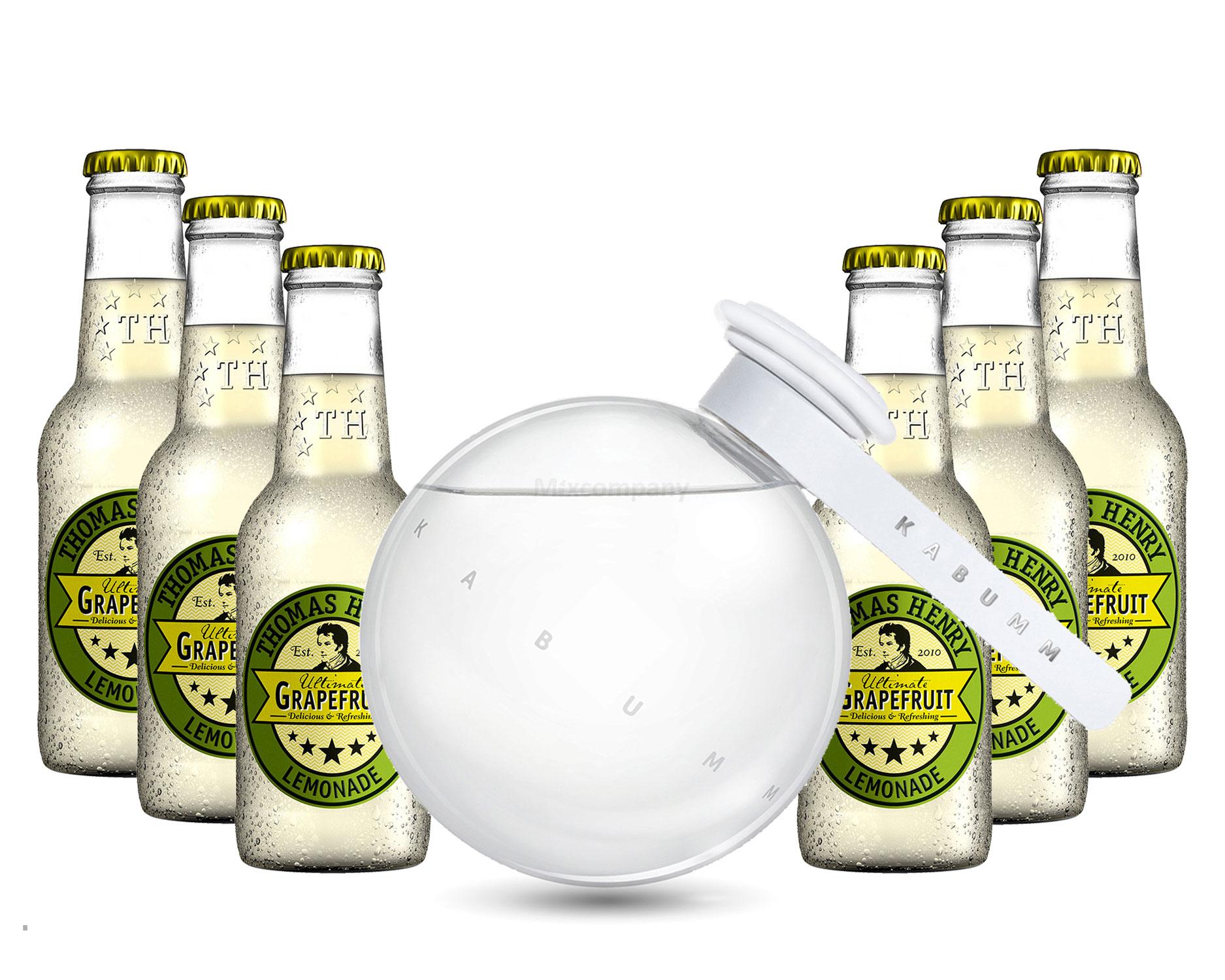 Vodka Lemon Set - Kabumm Vodka 0,7l 700ml (40% Vol) + 6x Thomas Henry Grapefruit Lemonade 200ml - Inkl. Pfand MEHRWEG