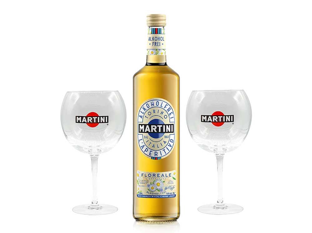 Martini Aperitiv - Martini Floreal Alkoholfrei 0,75L + 2 Martini Ballon Gläser / Glas