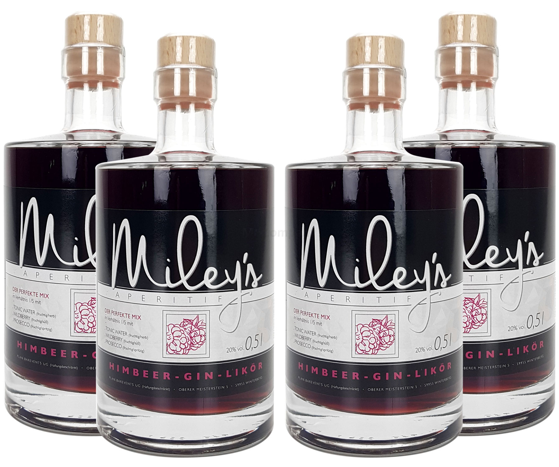 Mileys Himbeer Wild Berry Himbeer-Gin-Likör Set - 4x 0,5l = 2l (20% Vol)