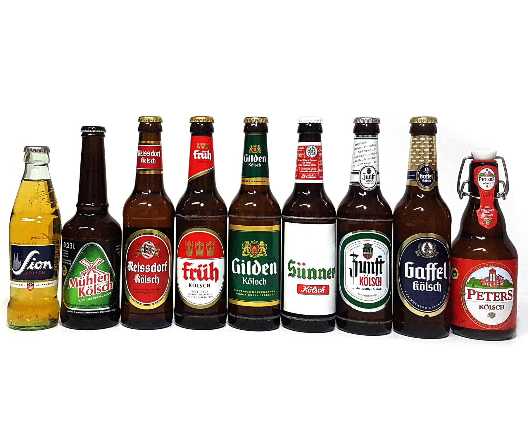 Kölsch 9er Bier Set - Sion 0,25L (4,8% Vol.) + Mühlen (4,8% Vol) + Zunft (4,8% Vol.) + Gaffel (4,8% Vol) + Früh (4,8% Vol.) + Gilden (4,8% Vol.) + Reissdorf (4,8% Vol.) + Peters (4,8% Vol) + Sünner (4,8% Vol) - je 0,33L