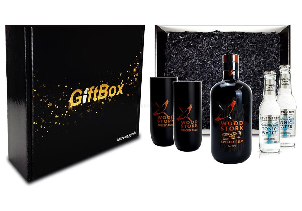 Mixcompany Geschenkset - Wood Stork Rum 0,5L (40%Vol) + 2 x Wood Stork Glas + 2 x Fever-Tree Naturally light Tonic Water 0,2l MEHRWEG inkl. Pfand- Wood Stork Rum Geschenk Set [Enthält Sulfite]