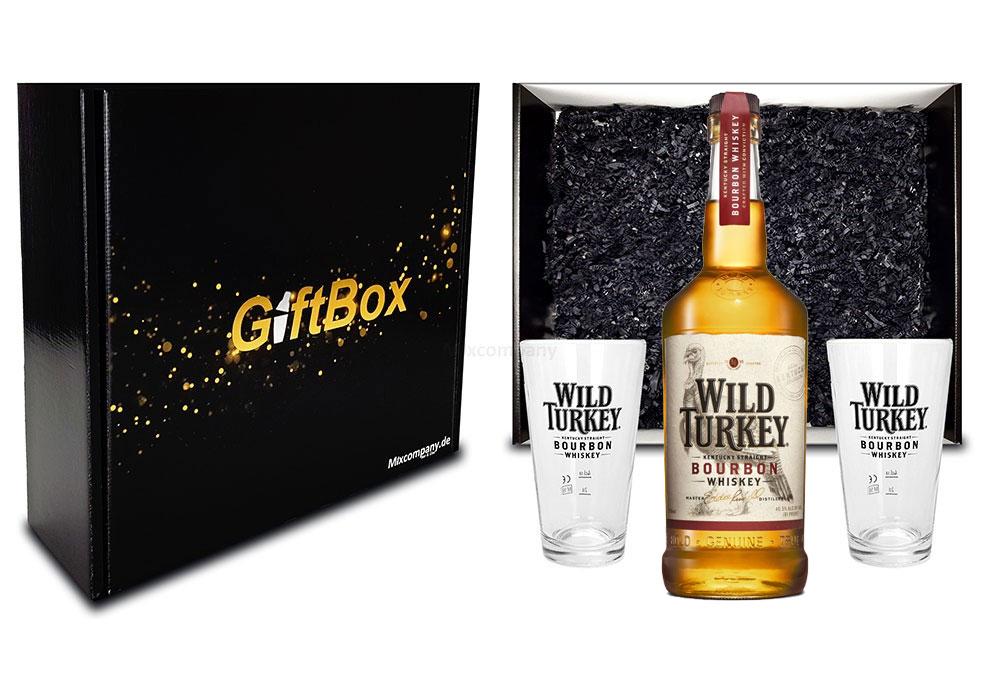 Wild Turkey Geschenkset - Wild Turkey 81 Kentucky Straight Bourbon Whiskey 0,7l 700ml (40,5% Vol) + 2x Longdrink Glas / Gläser 2 + 4cl geeicht in Giftbox -[Enthält Sulfite]