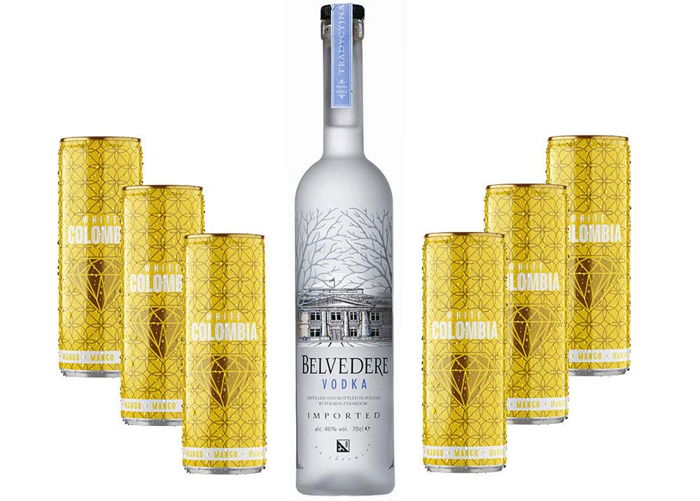 Belvedere Vodka 0,7l 700ml (40% Vol) + White Colombia Mango Set - Erfrischungsgetränk mit Mango-Maracuja-Geschmack - 6x 250ml inkl. Pfand EINWEG- [Enthält Sulfite]