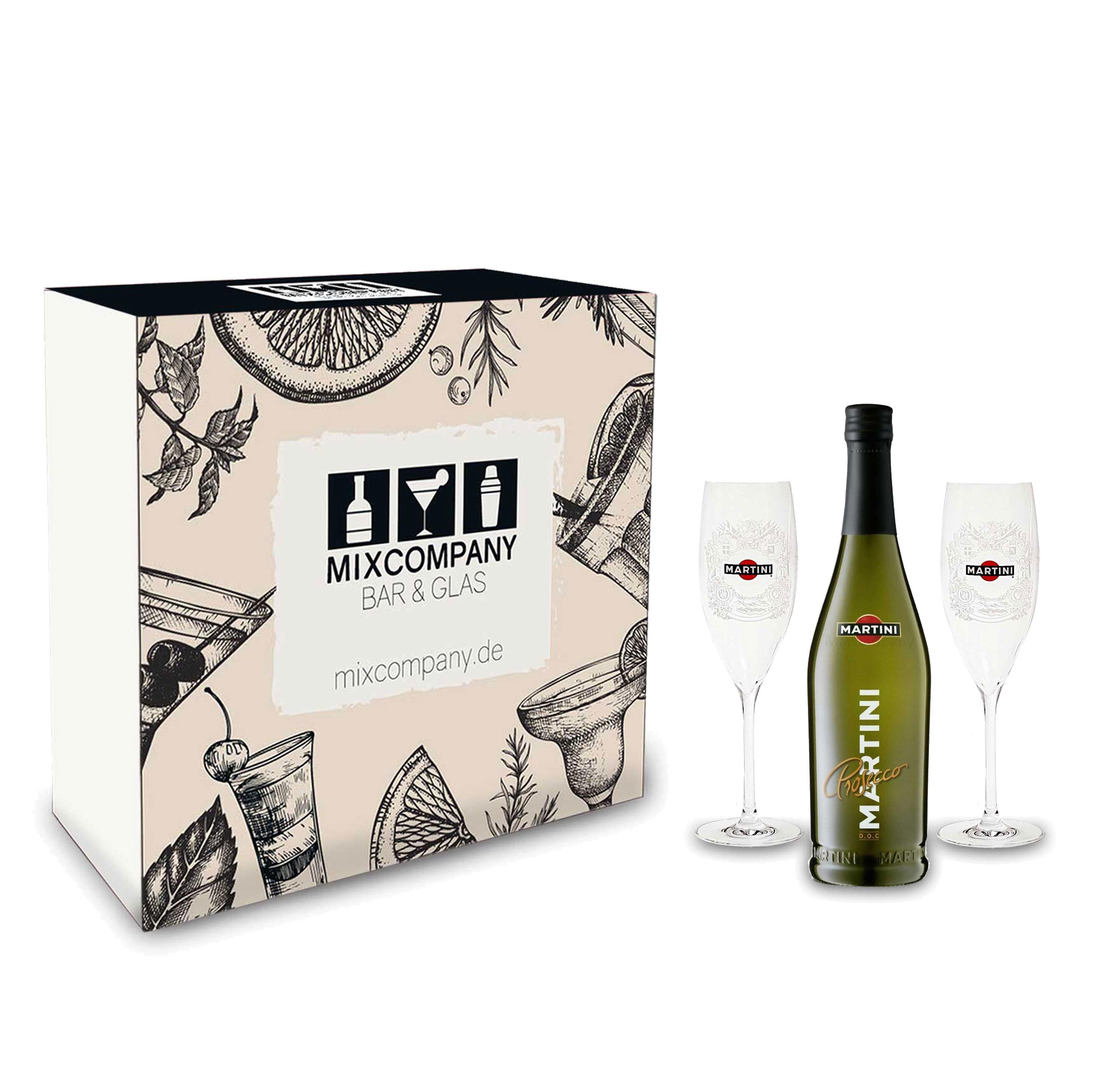 Martini Prosecco Set / Geschenkset - Martini Prosecco 750ml (10,5% Vol) + 2x Martini Sekt Flöten