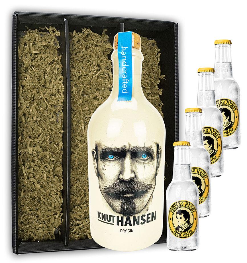 Knut Hansen Hamburg Dry Gin 0,5l ( 42% Vol) + 4x Thomas Henry Tonic Water 0,2l MEHRWEG mit Geschenkbox Geschenkverpackung Bar Longdrink Cocktail Sammlung Gin Tonic inkl. PFAND- [Enthält Sulfite]