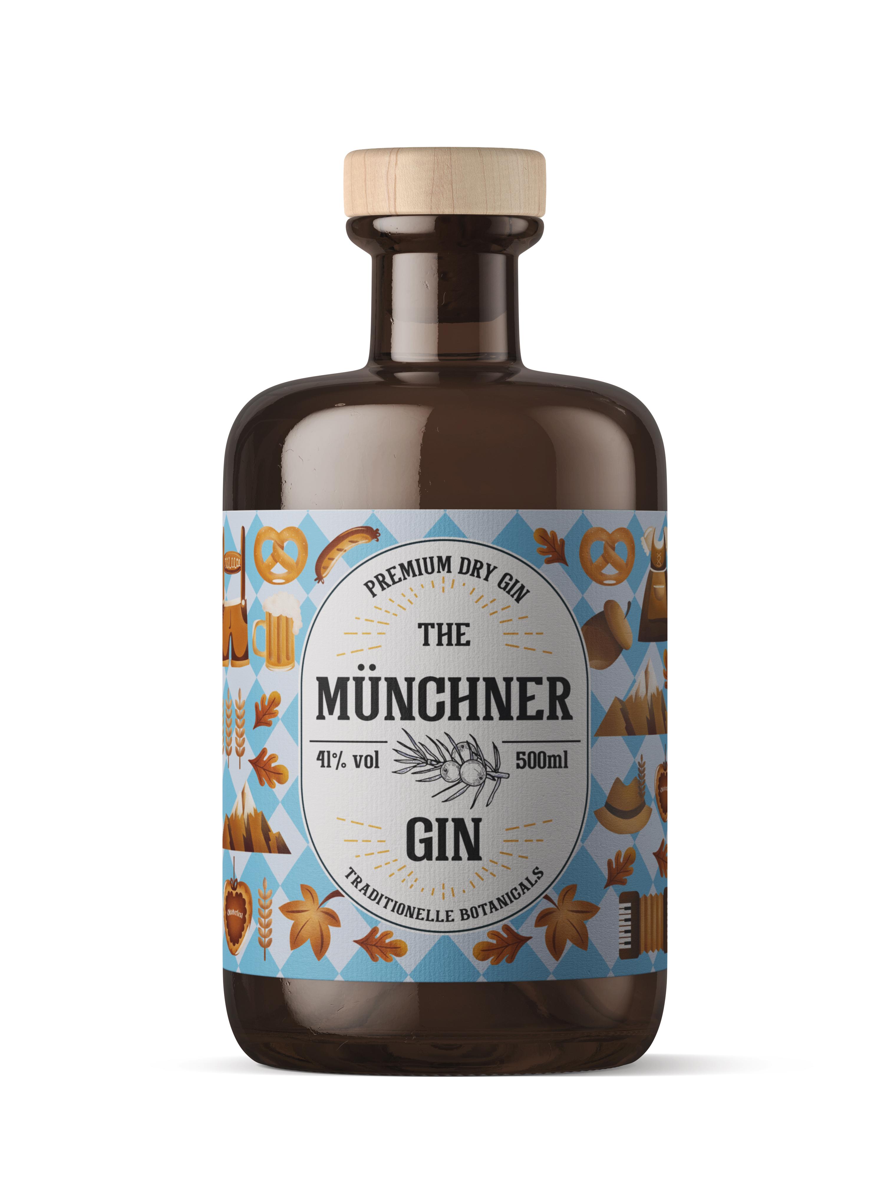 The Münchner Premium Dry Gin 0,5l (41% Vol.) - Premium Dry Gin München - genieße (D)eine Stadt- [Enthält Sulfite]
