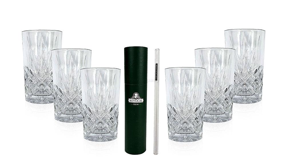 Longdrinkglas in Kristall Optik - 6er Set Gläser + 20 Stk. Botucal Glashalm / Strohhalm - Umweltfreundlich