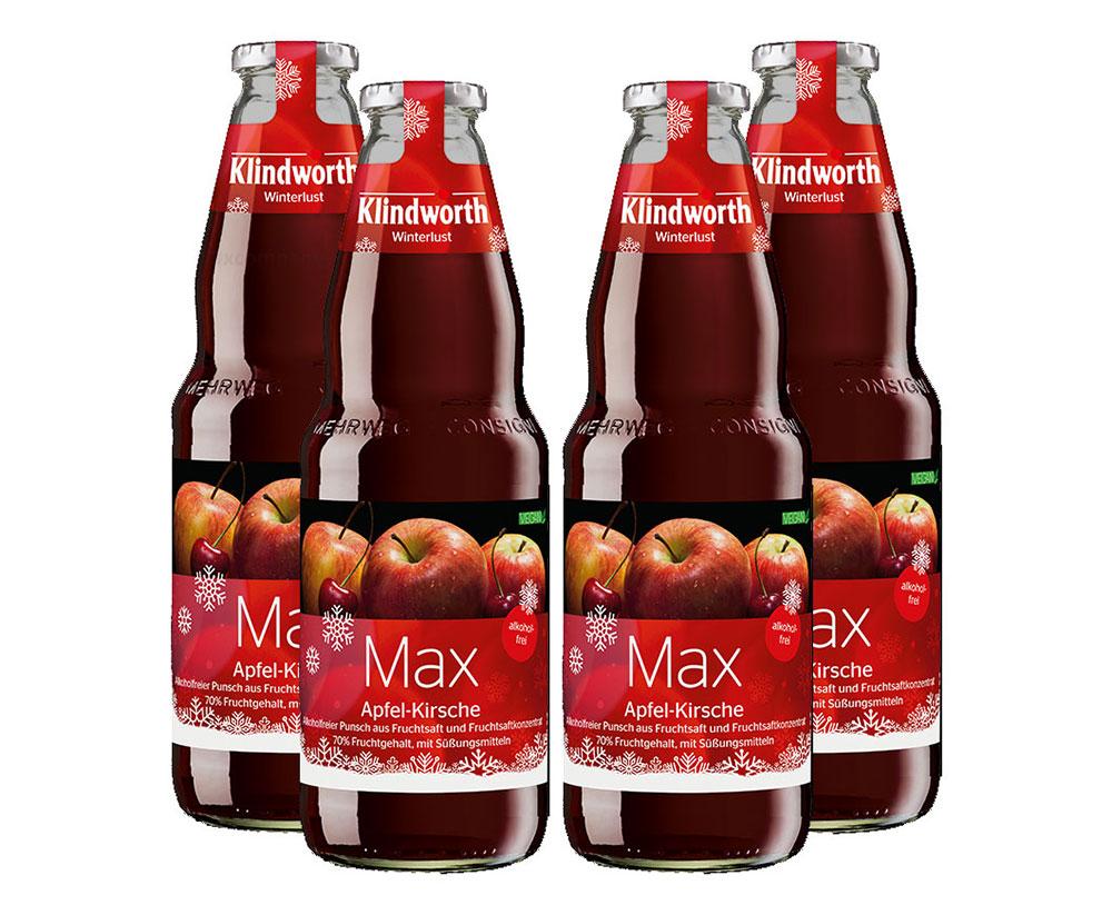 Klindworth Max 4er Set Alkoholfreier Punsch / Kinderpunsch 4x 1L inkl. Pfand MEHRWEG