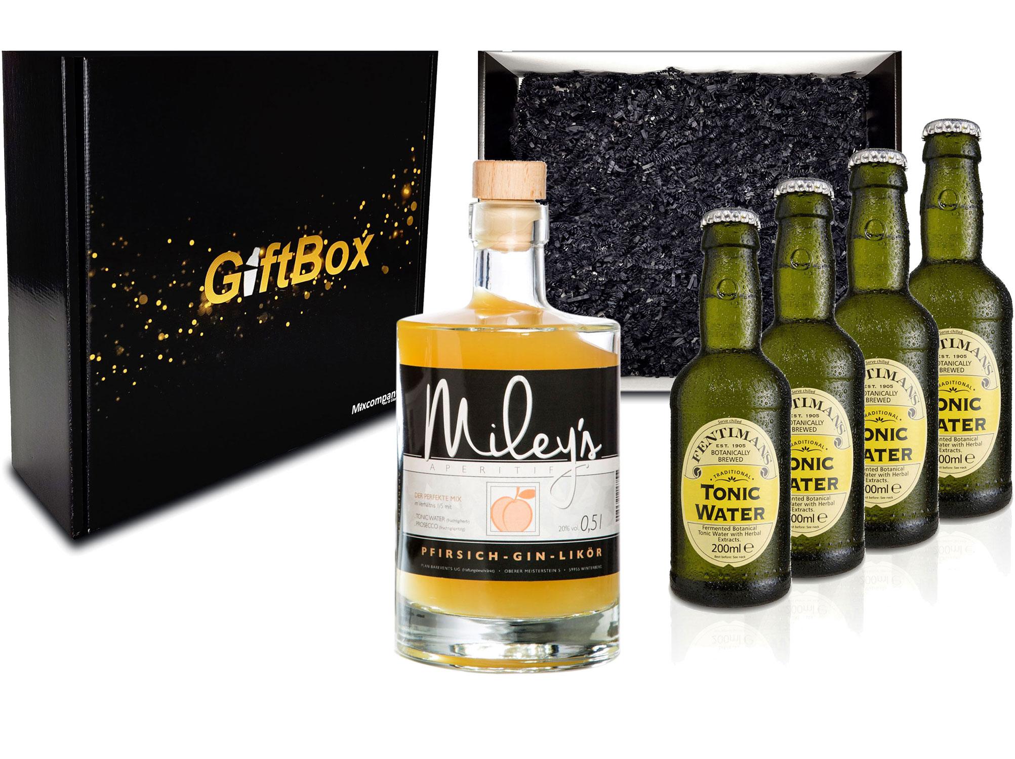 Gin Tonic Giftbox Geschenkset - Mileys Pfirsich Gin Likör 0,5l (20% Vol) + 4x Fentimans Tonic Water 200ml inkl. Pfand MEHRWEG - [Enthält Sulfite]