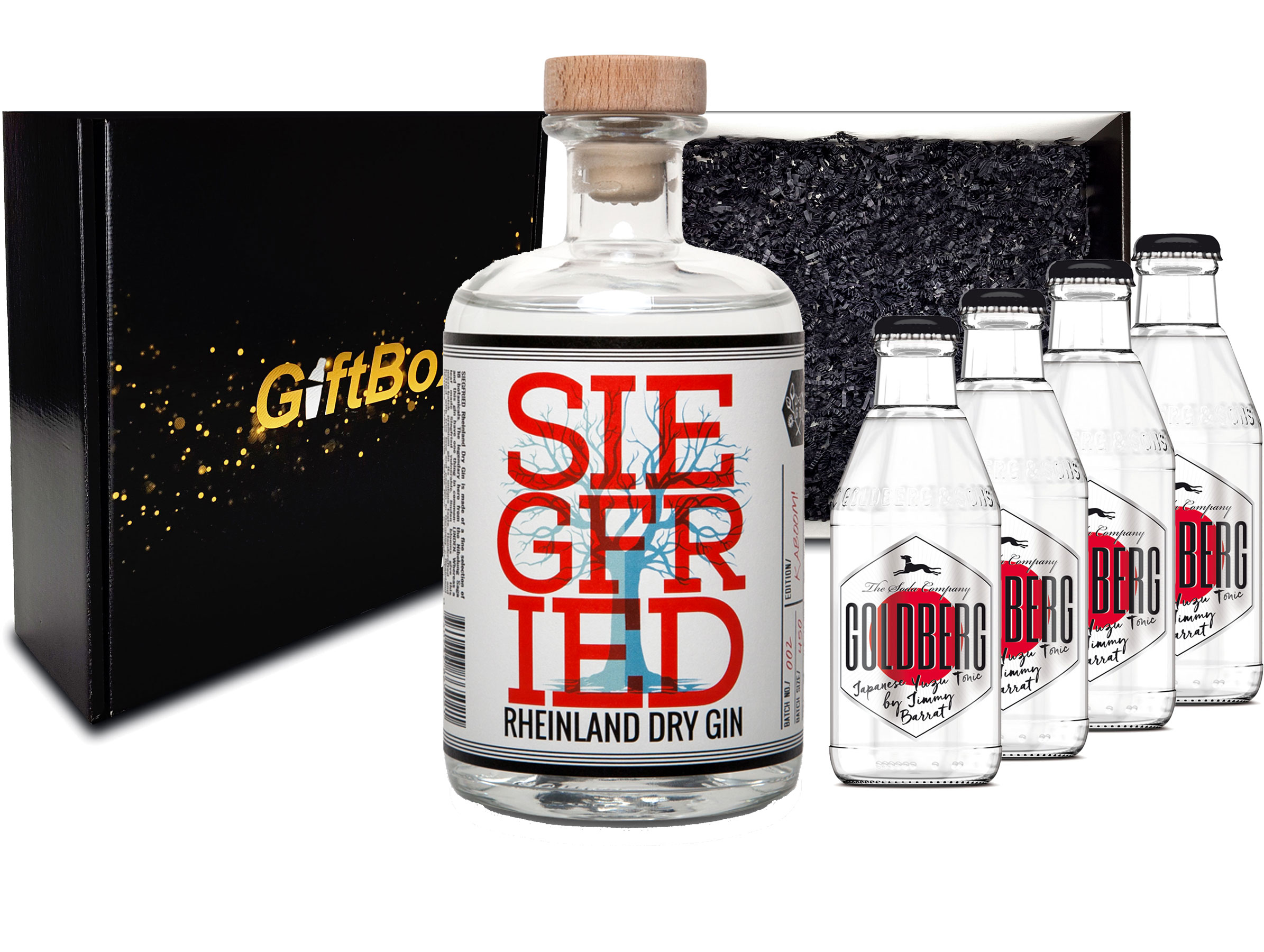 Gin Tonic Set Giftbox Geschenkset - Siegfried Rheinland Dry Gin 0,5l (41% Vol) + 4x Goldberg Japanese Yuzu Tonic Water 200ml inkl. Pfand MEHRWEG -[Enthält Sulfite]