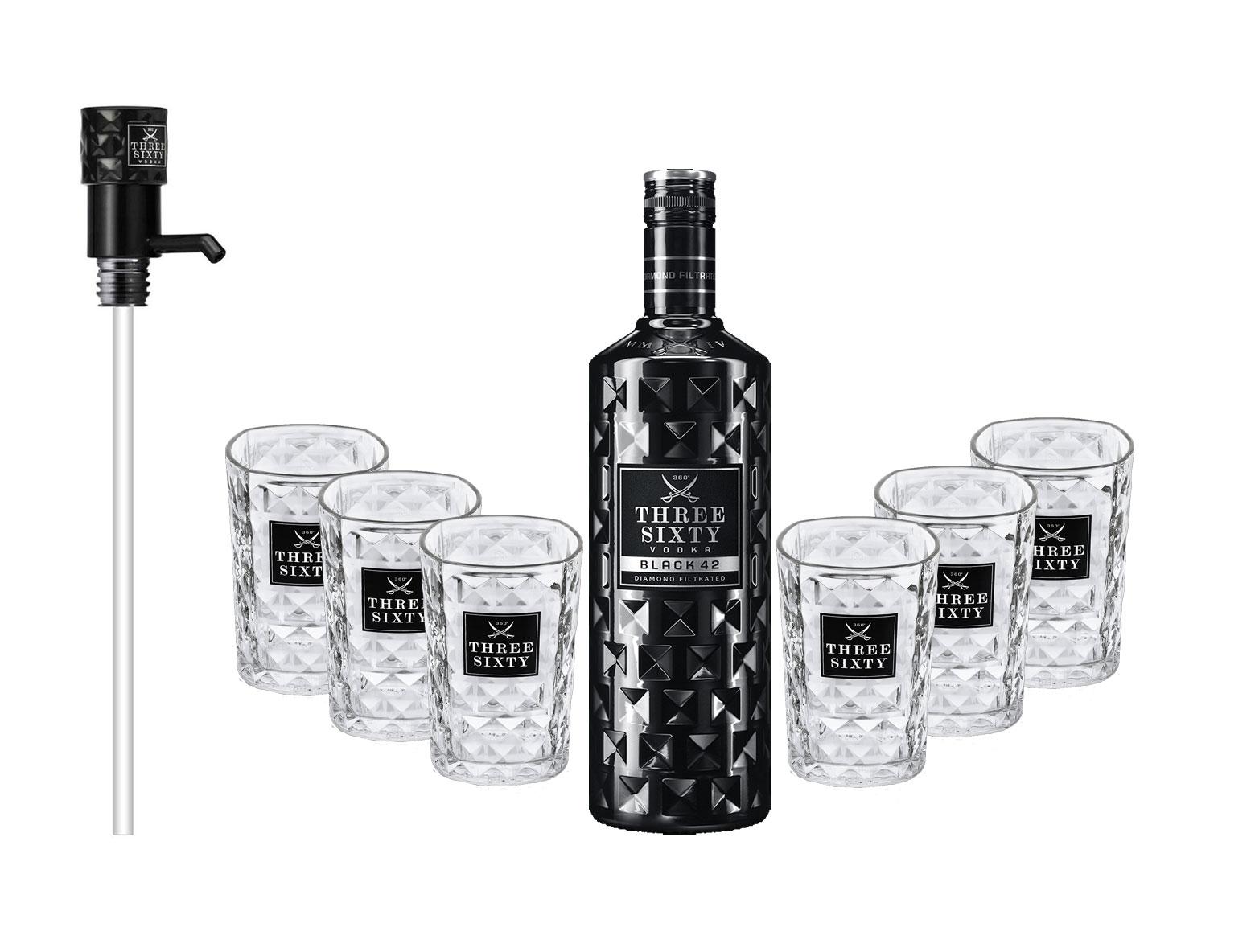 Three Sixty Set Geschenkset - Three Sixty Black Vodka Wodka 3L 3000ml (42% Vol) + 6x Tumbler 0,2l 200ml Facettenschliff Glas + Pumpe- [Enthält Sulfite]
