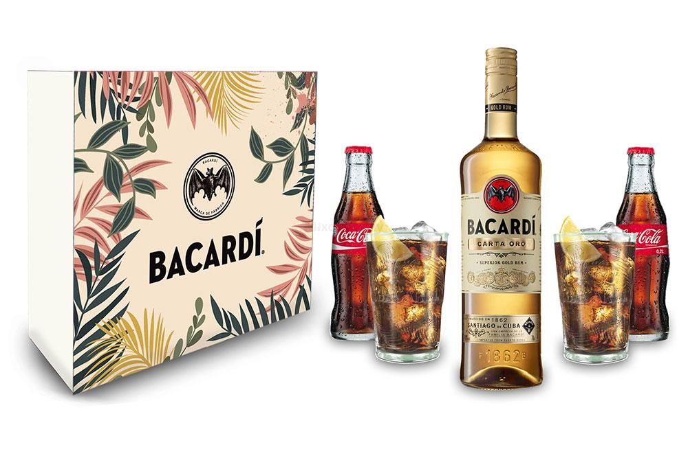 Geschenkset Bacardi Carta Oro Gold Rum 0,7l (40% Vol) + 2x Coca Cola 0,2L Mehrweg + 2xGläser Glas inkl. Pfand Mojito Longdrinkglas Cuba Libre Cocktail Bar - [Enthält Sulfite]