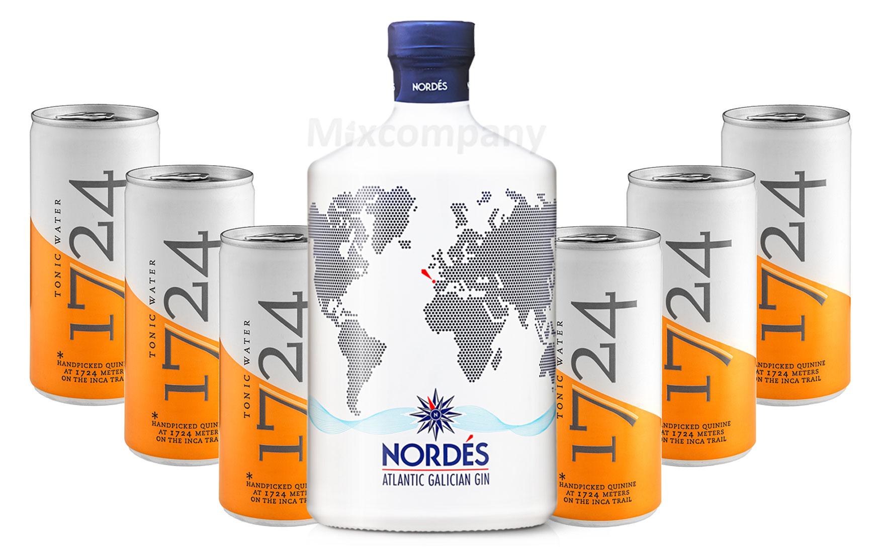 Nordes Atlantic Galician Gin aus Galizien 0,7l (40% Vol) + 6 x 1724 Tonic Water 0,2l EINWEG inkl. Pfand- [Enthält Sulfite]