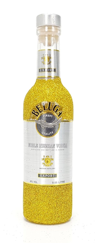 Beluga Vodka Mini 50ml (40% Vol) - Bling Bling Glitzer Glitzerflasche Flaschenveredelung für besondere Anlässe - Gold -[Enthält Sulfite]