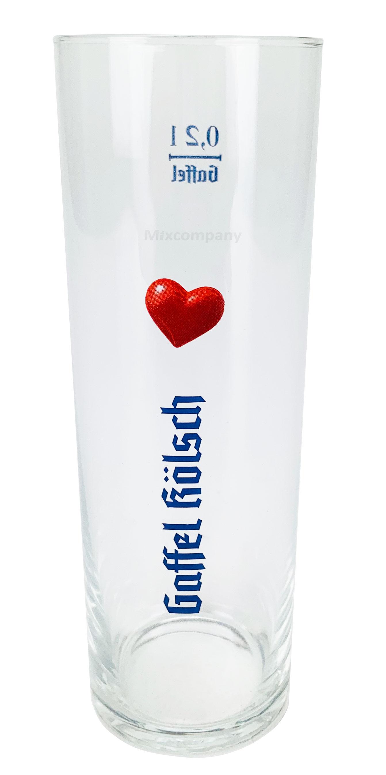 Gaffel Kölsch Stange Glas Bierglas 0,2l geeicht - mit Herz Abbildung - 1 Stück