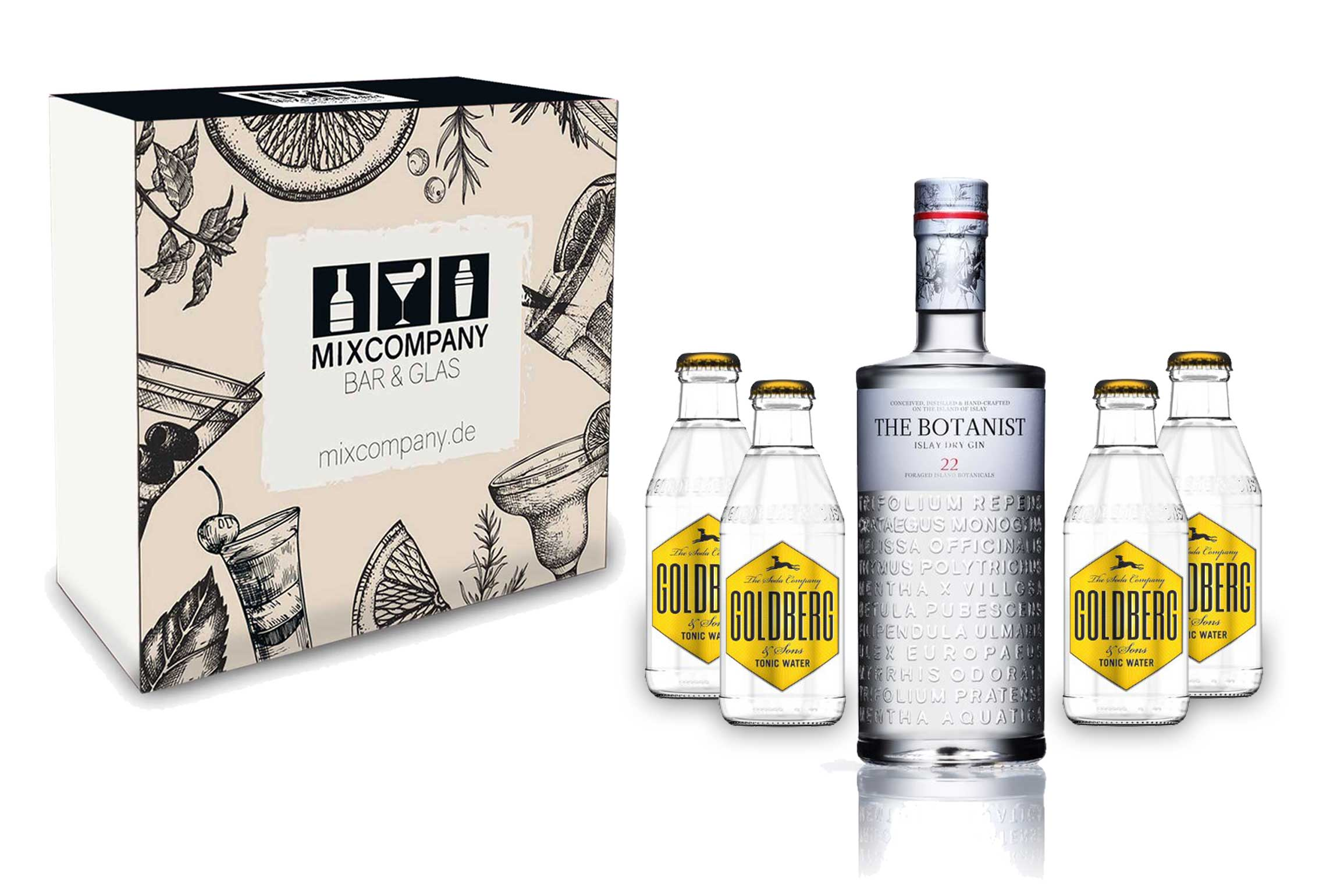 Gin Tonic Giftbox Geschenkset - The Botanist Islay Dry Gin 0,7l 700ml (46% Vol) + 4x Goldberg Tonic Water 200ml inkl. Pfand MEHRWEG + Geschenkverpackung