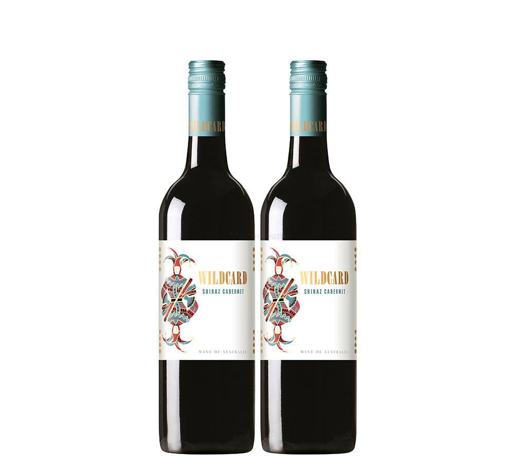 Wildcard Rotwein - 2er Set Shiraz Cabernet 0,75L (13,5% Vol) aus Austalien- [Enthält Sulfite]