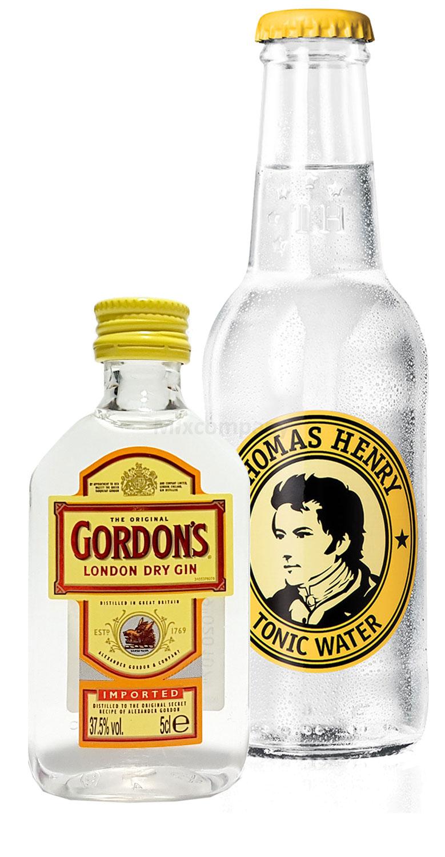 Gin Tonic Probierset - Gordon s London Dry Gin 50ml (37,5% Vol) + Thomas Henry Tonic Water 200ml inkl. Pfand MEHRWEG