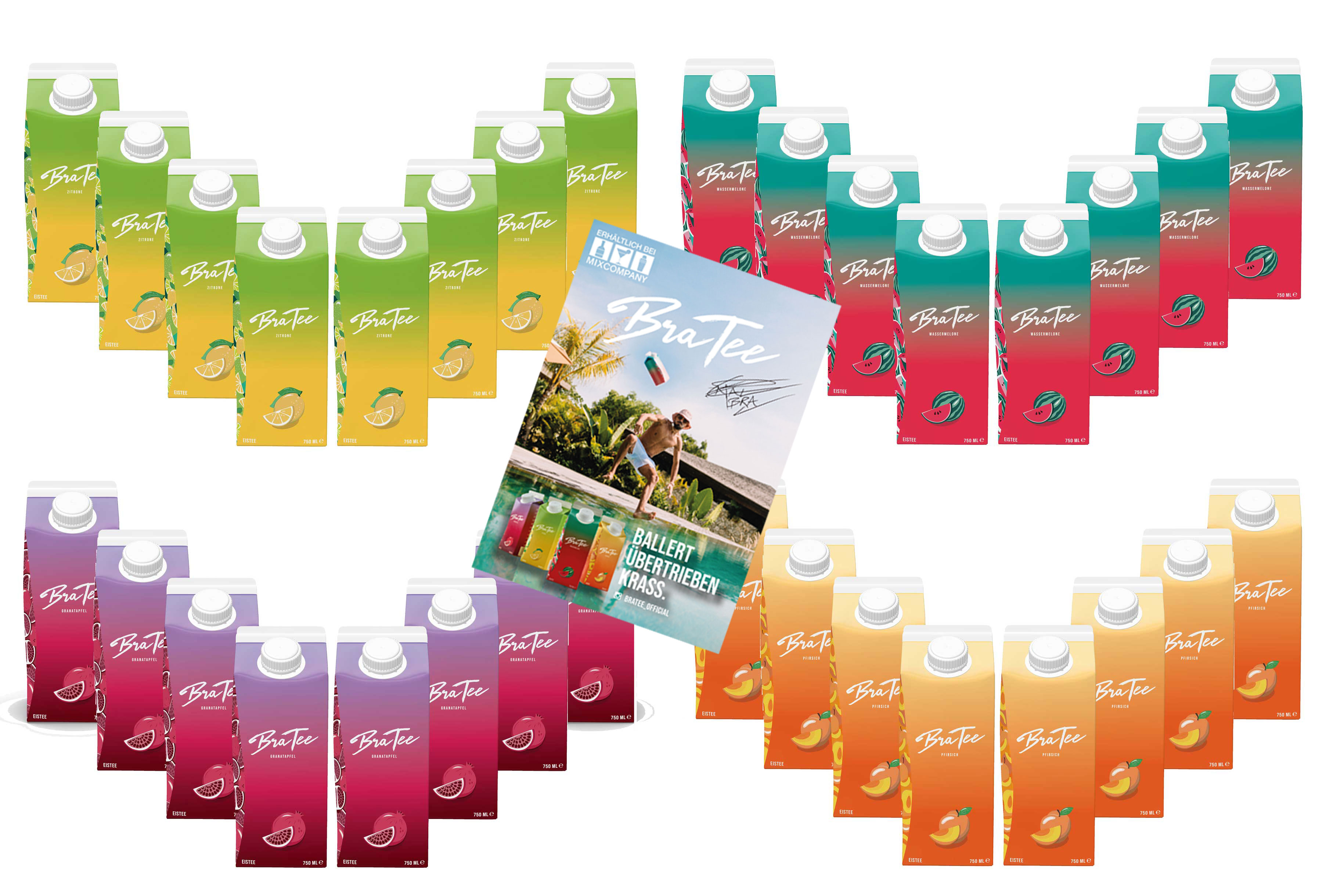 Capital BraTee 32er Tasting Set 8 pro Geschmackssorte Eistee je 750ml mit Autogrammkarte BRATEE Ice tea 8x Wassermelone 8x Zitrone 8x Pfirsich 8x Granatapfel - mit Capi-Qualitäts-Siegel